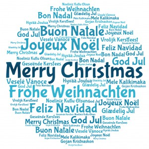 Merry christmas in word tag cloud